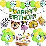 iZoeL Banner Buon Compleanno Safari per Bambini, Palloncino Giungla Buon Compleanno, Palloncini con Testa di Animale Safari, Animale Torta Topper per Ragazzi Festa Compleanno