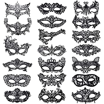 20 Pieces Lace Mask Masquerade Venetian Eyemask Halloween Sexy Woman Lace Mask for Halloween Masquerade Carnival Party Costume Ball Black