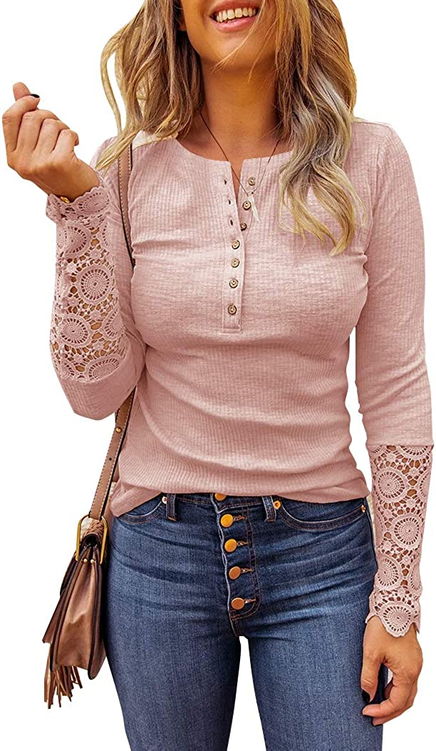 Limerose Women's Long Sleeve Lace Trim Tunic Tops Button Down Casual Blouse Cute Crew Neck Ribbed Shirt