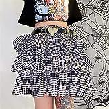 GUOIOOI Falda Corta para Mujer Y2 Clásico Retro con Cordones Falda Corta a Cuadros Vestido de Cupcake Verano Casual Playa Cintura Alta Cuadros Impresos Mini Faldas
