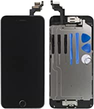 for iPhone 6 Plus Digitizer Screen Replacement Black - Ayake 5.5'' Full LCD Display Assembly with Home Button, Front Facing Camera, Earpiece Speaker Pre Assembled and Repair Tool Kits