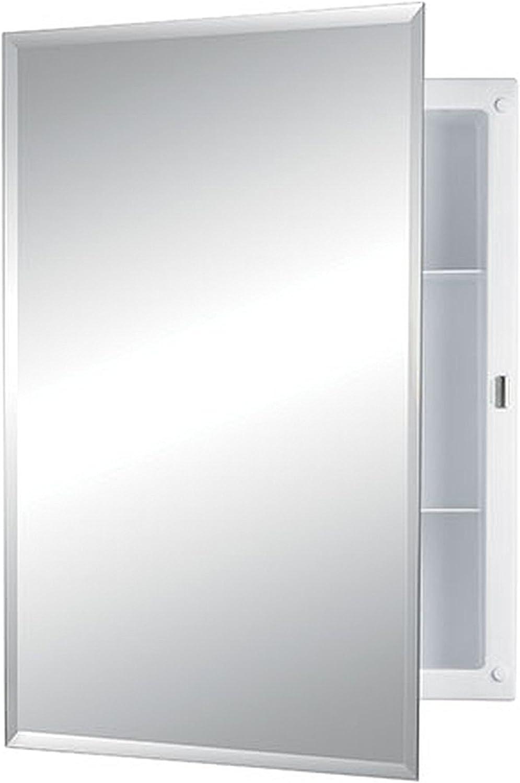 Jensen 868M22XWHZX Bevel Mirror Medicine Cabinet, 16  x 22