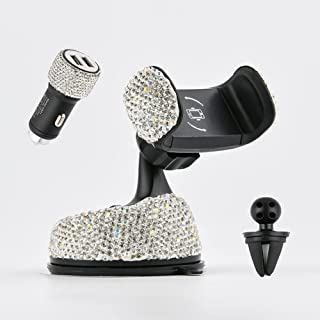 Vallycomfy Bling Phone Holder for Car Come with Air Vent Base & Car Charger Bling Crystal Universal Car Phone Holder Mount for Dashboard,Windshield and Air Vent