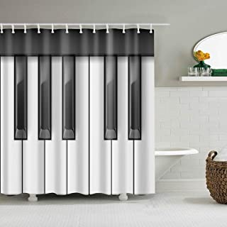 Boyouth Piano Keyboard Digital Print Shower Curtains for Bat
