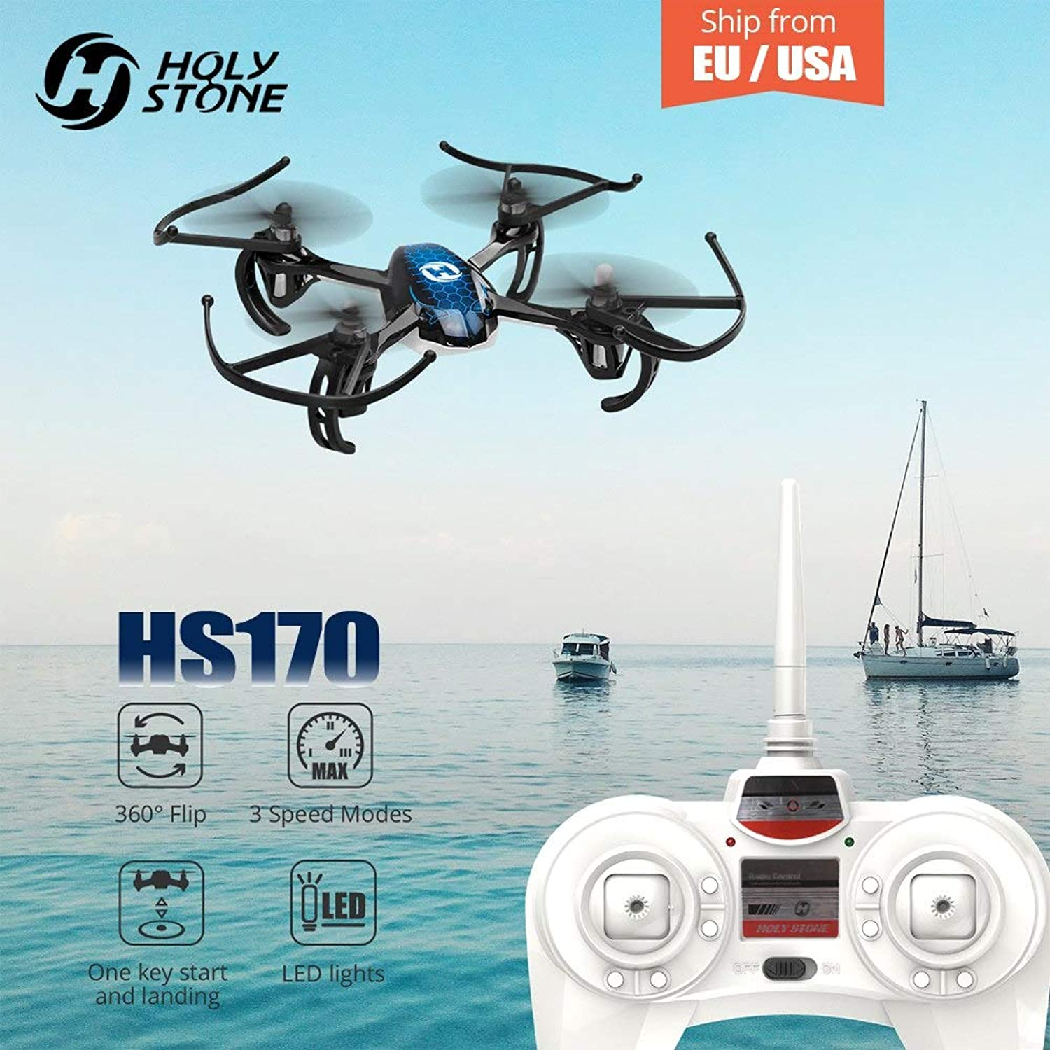 Generic Holy Stone HS170 Drone Predator Mini RC Helicopter 2.4Ghz 6Axis Gyro 4 Channels Quadcopter One Key Return Headless Toy RC Plane