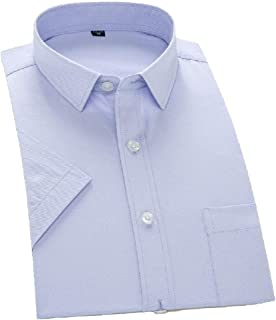 Howely Mens Pure Colour T-Shirt Business Trim-Fit Short Sleeve Dress Shirt