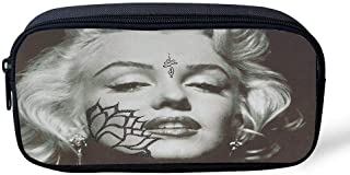 HelloPnR Pencil Case Big Capacity Marilyn Monroe Pointillism Piece Pencil Bag Makeup Pen Pouch Durable Students Stationery with Zipper Pen Holder for School/Office