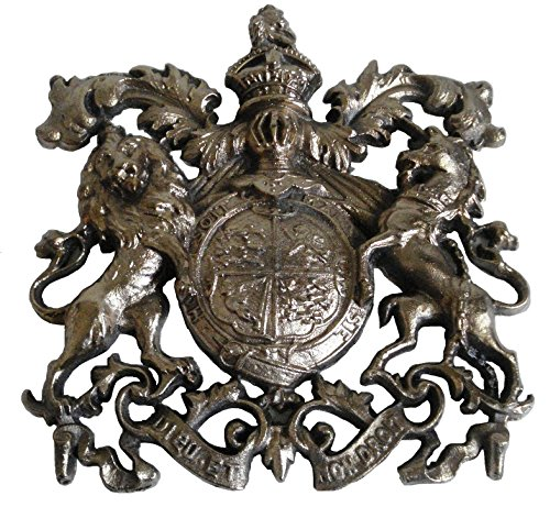 Antique Style Heavy CAST Safe Wall Plaque Plate – Rarest Rare - Best Collection: (Brass, Royal Crest - Big)