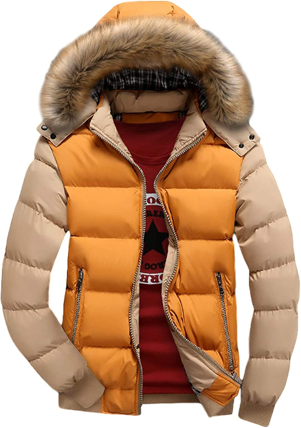Yimoon Men's Winter Thick Zip Up Hooded Quilted Cotton Padded Puffer Jacket Coat