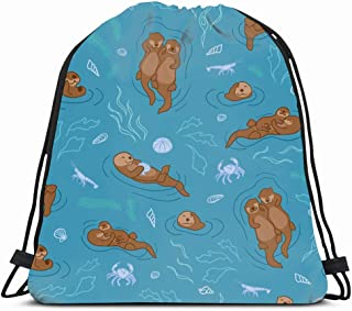 Ahawoso Drawstring Backpack String Bag 14X18 Blue Animal Otter Pattern Sea Baby Couple Turquois Crab Plants Snuggling Shell Nature Nice Cute Happy Kids Sport Gym Sackpack Hiking Yoga Travel Beach