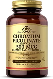 Solgar Chromium Picolinate 500 mcg, 60 Vegetable Capsules - Supports Energy - Supports Healthy Blood Sugar Metabolism - Ve...