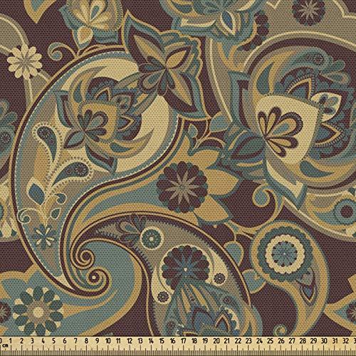 ABAKUHAUS Cachemir Tela por Metro, Persa Hippie Florets, Decorativa para Tapicería y Textiles del Hogar, 2M (148x200cm), Arena Marrón Chocolate
