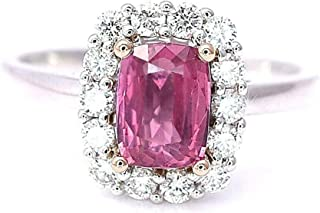 Natural Padparadscha Sapphire Cushion Cut and Diamonds Statement Cocktail Engagement Ring Lotus Orange Pink Color 2.00 cttw 14K White and Rose Gold New Size 7 Certified