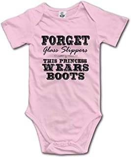 Ghhpws Forget Glass Slippers Princess Wears Boots Baby's Onesie Unisex Short Sleeve Comfortable Bodysuit Outfits Pink