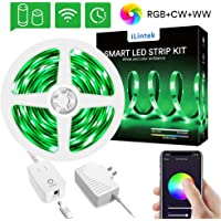 iLintek RGBWW Color Changing Waterproof Smart LED Strip Lights Works with Alexa, Google Home