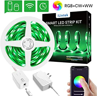 WiFi LED Strip Lights RGBWW 6.6ft - Lumary Color Changing Light Strip Kits Timing Function Waterproof Work with Alexa Google Home (RGBWW 6.6ft Led Strip Kit)