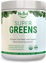 SUPER GREENS | #1 Green Veggie Superfood Powder | 30 Servings | 20+ Whole Foods (Wheat Grass, Spirulina, Chlorella), Probiotics, Fiber & Enzymes | 100% USDA Organic Non-GMO Vegan Supplement (Original)