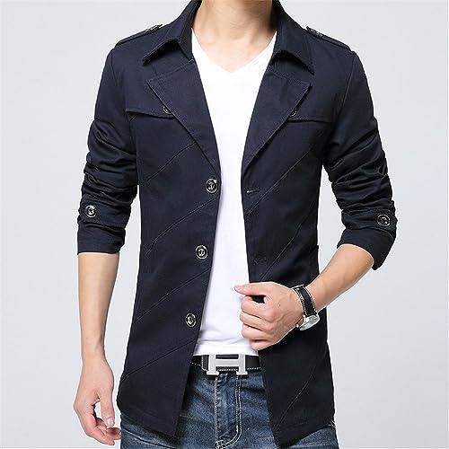 Fjubjv la Veste d'hiver Hommes Hommes Jeunes Mode Tout Match Revers de Veste,noir,2XL