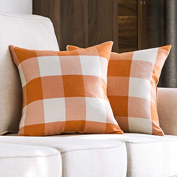 MIULEE 包 2 个装饰经典复古跳棋格子抱枕套棉麻软底枕头套橙色靠垫套沙发卧室汽车 18X18 英寸 45X45 Cm