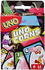 Now you can play UNO and at the same time look at magical, colorful unicorns! The goal is to get rid of all the cards in your hand, and the first player or team to 500 points wins. Special action cards like Skips and Reverses change gameplay at ...
