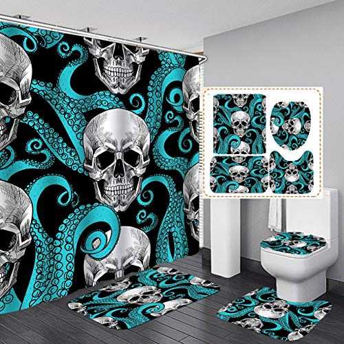 PINMJEE Gothic Skull Shower Curtain Bathroom Set 4 pcs, Waterproof Blue & Black Skeleton Bath Curtains with Rug,Toilet Lid Cover, Bath Mat and 12 Hooks