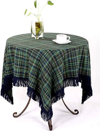 Nappe ronde en coton et lin Restaurant de cuisine Nappe de table imperméable, intérieure ou extérieure (taille   130  200cm)