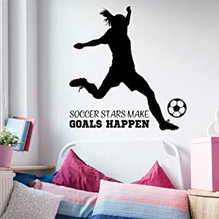Girls Soccer Quote Wall Decor, Girls Soccer Decorations, Large Soccer Wall Decal, 35