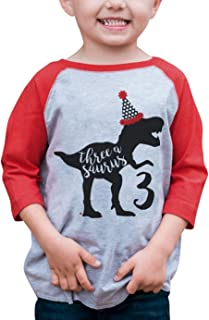 7 ate 9 Apparel Dino Three Birthday Dinosaur Red Baseball Tee