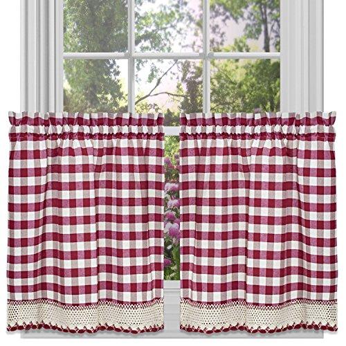 "Achim Home Furnishings Tier Pair Buffalo Check Window Curtain, 58"" x 24"", Burgundy & Ivory"