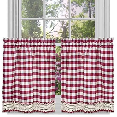 Achim Home Furnishings Tier Pair Buffalo Check Window Curtain, 58' x 24', Burgundy & Ivory