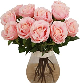 Elome Artificial Flowers, Real Touch Silk Pu Flower Rose Home decorations for Bridal Wedding Bouquet, Birthday Bunch Hotel Party Garden Floral Decor Pink