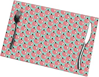 GULTMEE Placemats, Heat-Resistant Stain Resistant Anti-Skid Washable for Kitchen Table Mats (Set of 4), Scribbled Berries Hand-Drawn with Ink and Marker Brush Effect