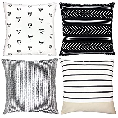 Decorative Throw Pillow Covers For Couch, Sofa, or Bed Set Of 4 18 x 18 inch Modern Quality Design 100% Cotton Stripes Geometric  Atlas Set  by Woven Nook
