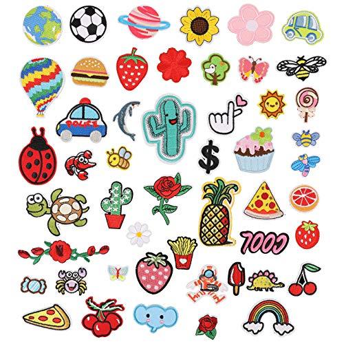 metagio 50 Stück Patches Zum aufbügeln Bügelflicken Kinder, DIY Kleidung Patches Aufkleber Patch Stickerei Sortierte Größe Dekoration für T-Shirt Jeans Kleidung Taschen