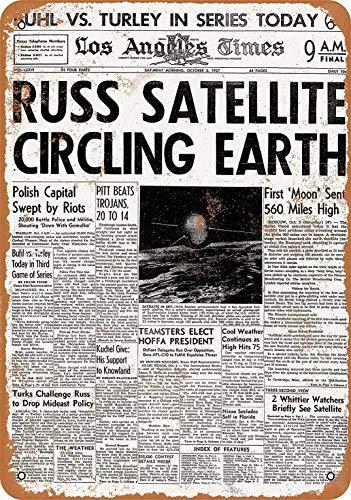 Russ Satellite Circling Earth Blechschild Retro Blech Metall Schilder Poster Deko Vintage Kunst Türschilder Schild Warnung Hof Garten Cafe Toilette Club Geschenk