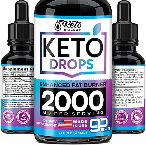 Keto Diet Drops with Exogenous Ketones from BHB - Made in the U.S. - Keto Nature - Fat Burner & Appetete Suppressant