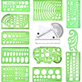 XCMY 15 Pcs Geometric Drawing Templates, Drawing Measuring Geometry Rulers for Drawing Engineering, Building, Office and School