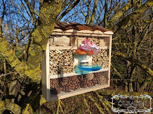 ÖLBAUM Gartendeko Nistkasten groß hell für Marienkäfer Schmetterling Insektenhotel KOMPLETT mit Holzrinde-Naturdach und Fütterungsstation, FDV-Station-OS