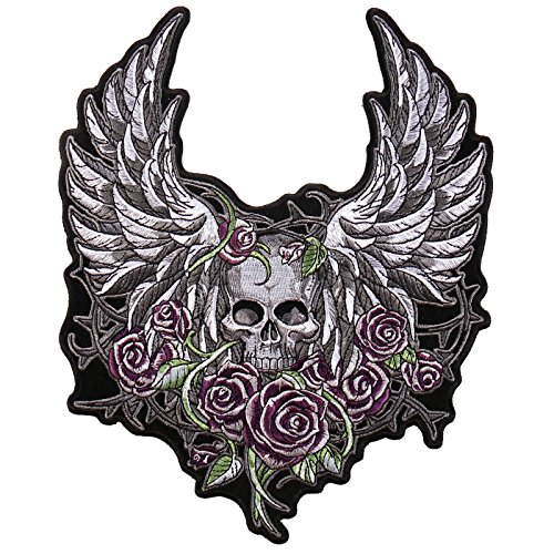 Skull Wings Flowers Jacket Vest Embroidered iron on 10 XXL inch Patch