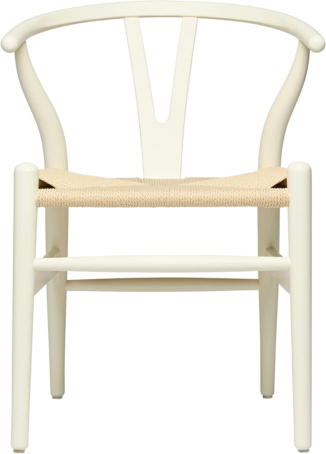 Hans Wegner Wishbone Style Woven Seat Chair (Rustic White with Natural Cord)