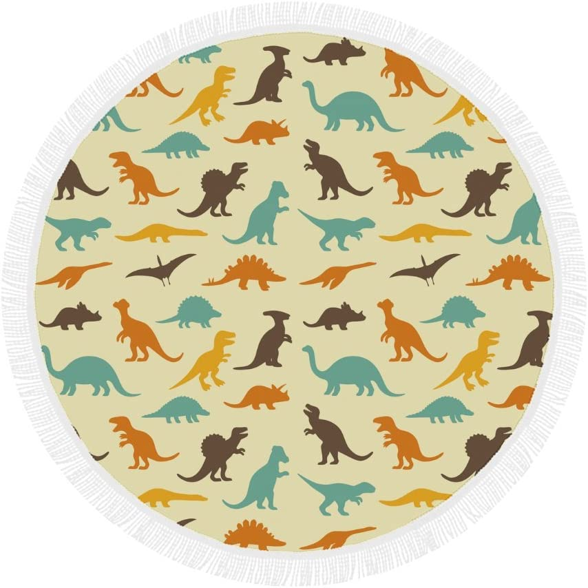 Dinosaur Pattern Print Round Beach Mat Large-scale sale Towel Outlet sale feature fo Tapestry Blanket