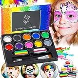 Flyfun Maquillage pour Enfants de Fête Professionnel Palette de Maquillage 12 Couleurs 3 Brosses Peinture Kit Ensembles de Maquillage Enfants Convient pour Festival Party Painting individual package