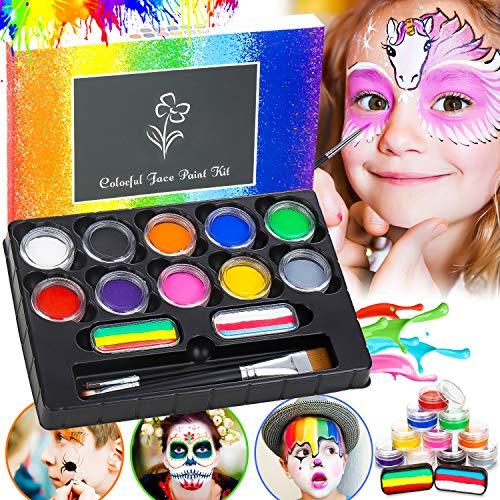 Flyfun Kinderschminke Set 12-Farben, Professionelles Gesichtsfarbe Bodypaint für Kinder, Waschbar...