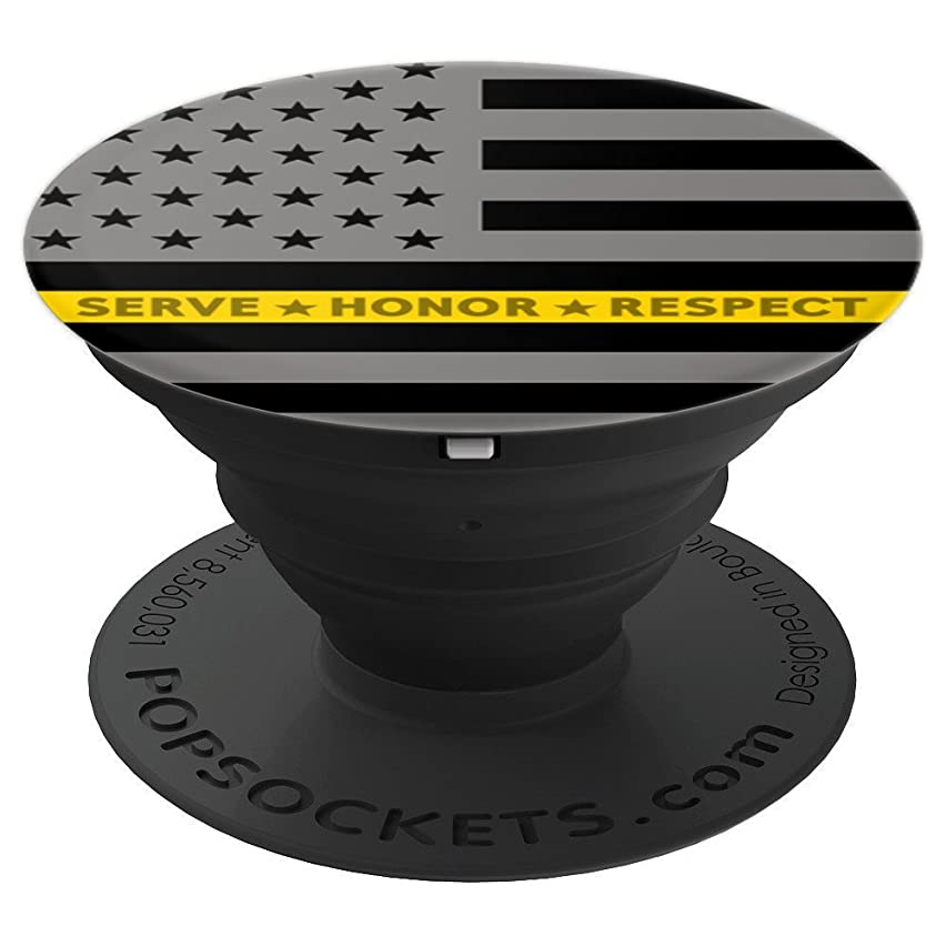 Thin Yellow Line American Flag Dispatch EMS EMT Tow USA - PopSockets Grip and Stand for Phones and Tablets