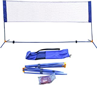 Portable Height Adjustable Badminton Tennis Net Set Equipment with Poles Stand and Carry Bag 3m/10ft for Kids Outdoor Sports
