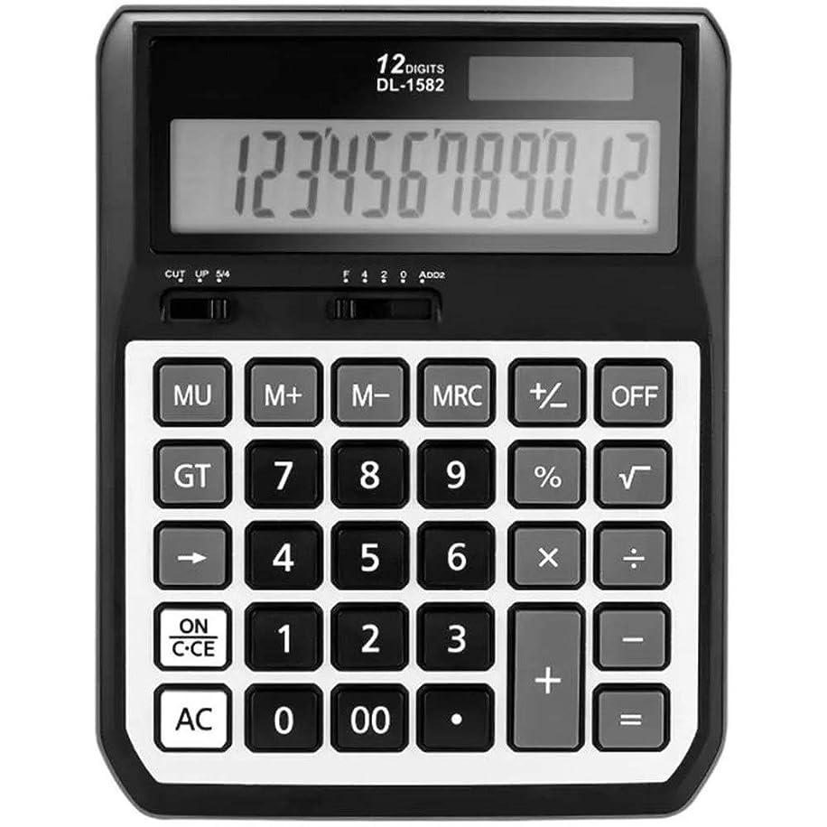 シソーラス合体今シンプル 電卓12桁のデュアルパワーバッテリーとソーラーメタルパネルの自動デスクトップ電卓 ポータブル (Color : Black, Size : One size)