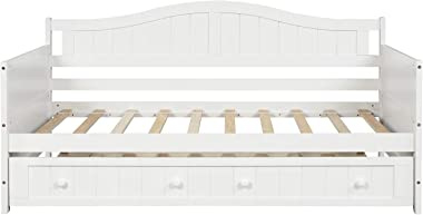 Twin Wooden Daybed with Trundle, Sofa Bed for Bedroom Living Room, Harper&Bright Designs Wood Daybed with A Trundle, Trundle Daybed Twin Size, Standard Twin Bed Frame Ship from USA (White)