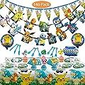 Magichui Conjunto de Pokemons Theme Party Supplies Set, Decoración de Cumpleaños de Pikachu, Decoración de Fiesta de Pokemon, Decoración de Suministros de Fiesta de Carnaval para Niños