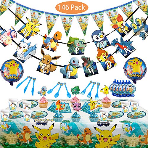Magichui Satz von 146 Pcs Pokemons Thema Party Supplies Set, Pikachu Geburtstagsdekoration, Pokemon Party Dekoration, Kinder Karneval Party Supplies Dekoration