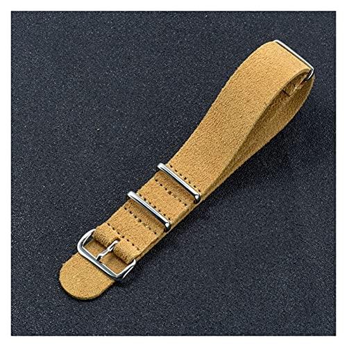LINMAN 20 mm 22 mm marrón/Khaki Reloj de Reloj de Gamuza Suave de Gamuza NATO Zulu Reloj Correa Correa de Pulsera Reloj rápido Reloj Accesorios de reemplazo (Band Color : Khaki, tamaño : 22mm)